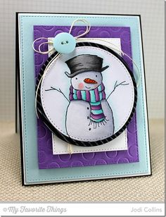 Diagonal Stripes Background, Holiday Hugs Snowman, Circle STAX Set 2 Die-namics, Polka Dot Cover-Up Die-namics, Stitched Circle STAX Die-namics, Stitched Rectangle STAX Die-namics - Jodi Collins #mftstamps