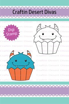 Cupcake Cutie Blue Monster Digital Stamp - Craftin Desert Divas