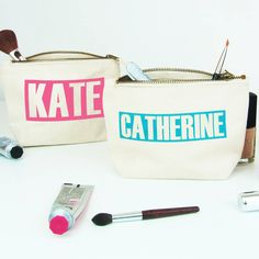 Cosmetic Bag 'Personalised Name' This personalised Cosmetics bag makes a really a great practical quirky gift for a friend or family member or even just a treat for yourself! International shipping too! Quirky Gifts, Practical Gifts, Unique Gifts, Purple Baby, Red Purple, Toiletry Bag, Tote Bag, Corporate Gifts, Bag Making