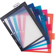 Staples Better Binder dividers: Sliding tab allows labelling anywhere along top or side.