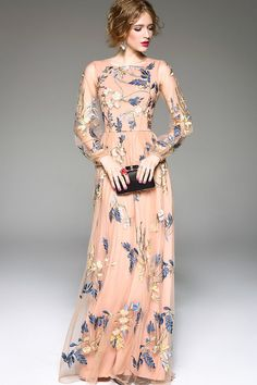 $140.99 Apricot Embroidered Maxi Dress