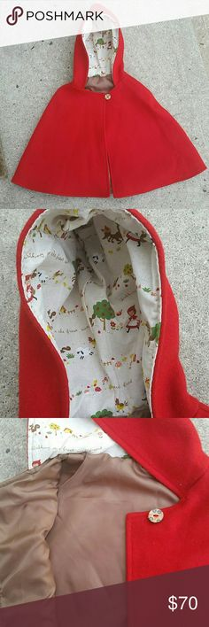 ☆☆1 hour sale ☆☆ Little Red-Ridinghood Cape Sure to delight any little child with an active imagination, this cape is made of Canadian - milled warm Melton wool and lined with a cotton print in the hood and a nylon fabric on the body.  It's great for playing dress up and as an actual outerwear garment.  Makes a great Halloween costume.    Patouche Clothing is a Canadian clothing line in which all items are made in small batches and sell out quickly.  This sells for $88 in the catalogue…