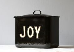 vintage enameled metal canister oh JOY!