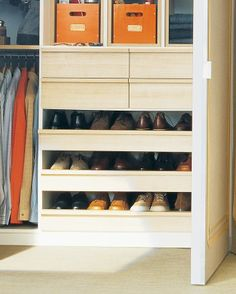 How to make orderly shoe racks - Open, pull-out shelves provide an orderly home for men's or other flat footwear. Each shelf is deep enough to accommodate two rows of shoes, so no stand-alone racks are needed.