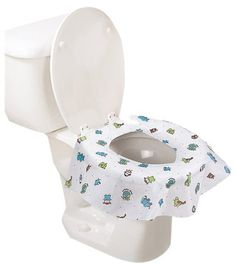 """""""Disposable potty seat covers. Best ones. Covers even the sides and has sticky tabs to hold in place."""""""