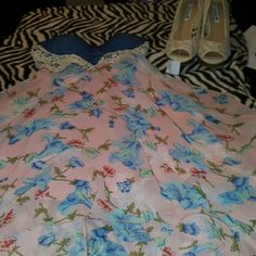 SALE!☆Nice breezy  spring Jr dress Back stripes front lace opening heart shape jean top used only once Dresses High Low