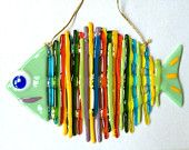 Handmade Rainbow fish glass fusing techniques gift lovers by ICMCM Fused glass art. Fused Glass Ornaments, Fused Glass Jewelry, Fused Glass Art, Stained Glass Art, Mosaic Glass, Glass Artwork, Glass Wall Art, Glass Fusion Ideas, Glass Fusing Projects