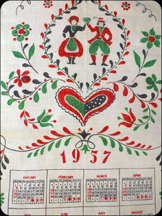 1957 Calendar Tea Towel, Vintage with Dutch Folk Art Design. $12.00, via Etsy.