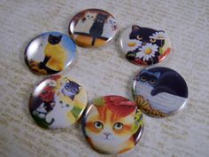 1 Inch Wide Eyed Kitties Flat Back Buttons by TheSteamPunkCatSlave, $6.00