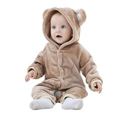 Mycloth IDGIRL Baby Girl Boy Bear Animal Style Flannel Romper Pajamas Jumpsuit 1318months Brown >>> You can find more details by visiting the image link.Note:It is affiliate link to Amazon.