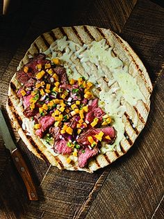Grilled Steak Pizza  Burgers and sausages make sense, but if you're a meat lover…
