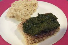 Roasted Mahi Mahi with Pesto and Goat Cheese Tarragon Risotto- what a healthy and delicious way to use fresh herbs!