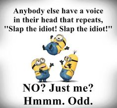 Minions. Any body else have a voice in their heads? Slap the idiot? ....