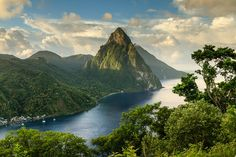 The sun greets the Pitons in St. Lucia.