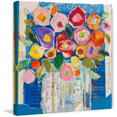 Floral Composition Painting Print on Wrapped Canvas, Yellow