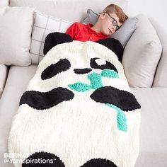 Knit Panda Bear Snuggle Sack| Free Pattern | Yarnspirations