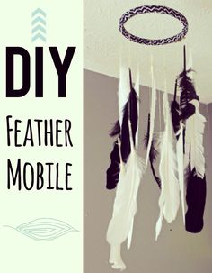 DIY fun & modern children's feather mobile!