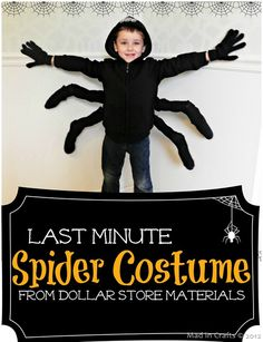 LAST MINUTE Spider Costume (using materials from the dollar store) - Mad in Crafts