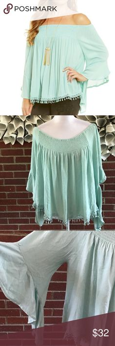 Chelsea violet off the shoulder Bell Sleeve Blouse Please see photos for all details and measure! This item comes from a smoke free home!! No rips, tears holes or stains to note!! Fast shipping!! Buy confidently!! THANKYOU for looking!! Happy shopping! Chelsea & Violet Tops Blouses
