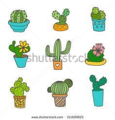 Hand Drawn Cactus Icons Set. 9 different types of cactus. Can be used as web, poster print, t-shirt print  or logo design