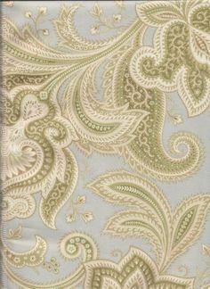 Rustic Retreat In Glacier 100% Cotton Paisley Fabric In Pale Blue, Creamy  White,