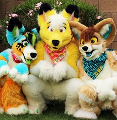 Amazing three fursuits, all done by DontHugCacti I can only name one, witch is the yellow coyote witch is Lucky coyote