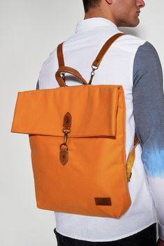 BONENDIS - LUCAS ORANGE BACKPACK #fashion #handmade #backpack #bag #orange #canvas #bonendis