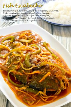 Escabeche is essentially a broad term for a fish dish cooked or marinated in some Fish Escabeche, Escabeche Recipe, Filipino Recipes, Filipino Food, Dinner For Two, Delicious Dinner Recipes, Fish Sauce, Fish Dishes, Fish Recipes