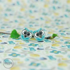 Mini owls- ceramic earrings:)