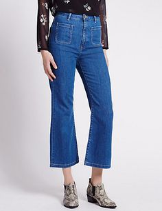 Cropped Flare Denim Jeans | M&S