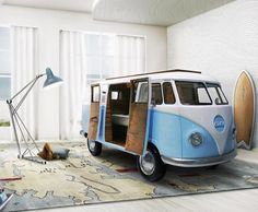 Limited edition VW bus inspired bed is perfect for kids cruising off to sleep | Inhabitots