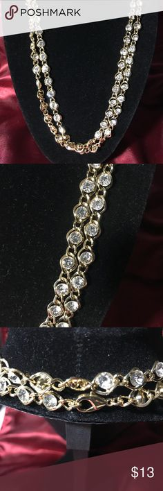 """Gold Crystal Layering Necklace 🤩🤩 Stunning, long gold tone layering chain featuring crystals all throughout. ALL STONES INTACT!! :)  Chain is 42"""" long.  New without tags, Never worn. Jewelry Necklaces"""