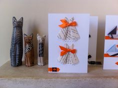 5 invitation cards with envelopes origami dresses