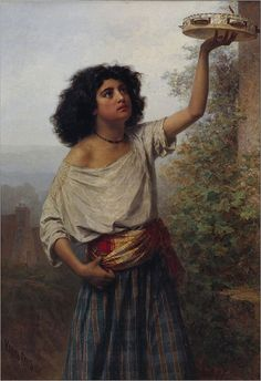 """""""Young Gypsy Woman is a painting by Kārlis Hūns from It is located in the Latvian National Museum of Art. Gipsy Woman, Gypsy Girls, Drums Art, Google Art Project, Bohemian Style Clothing, Tambourine, Oriental Fashion, National Museum, Musée National"""