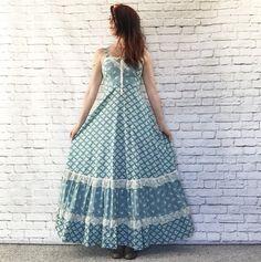 Vintage 70s Lace-Up Prairie Maxi jurk XS S blauw door PopFizzVintage