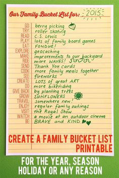 "Here's a fun idea! Create a family bucket list for the year of fun things to do together. Learn more and hear ideas from ""Childhood 101""."