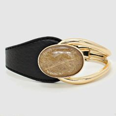 Lucite Cabochon chic against Jet Leather~Bracelet~