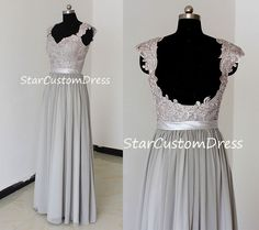 Grey Long Lace Bridesmaid Dress Chiffon Dress por StarCustomDress, $99,00