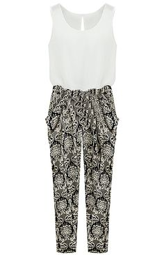 White Black Sleeveless Floral Loose Jumpsuits - Sheinside.com
