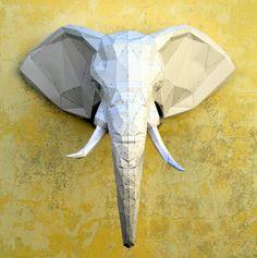 Make Your Own Elephant Sculpture. | Papercraft Elephant | African Elephant | Elephant Tusk | Wild Animals | Safari | PlainPapyrus | Tusk by PlainPapyrus on Etsy