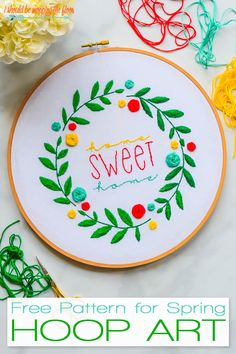 This Free Spring Embroidery Hoop Art Pattern is ideal for all levels of embroidery. Create this lovely piece with the printable pattern.