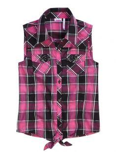 Sleeveless Embellished Plaid Shirt