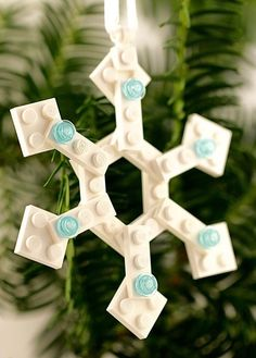 Snowflake ornament - White LEGO® ornament - Snowflake winter decor - White Christmas Tree Decorations - Geometric ornament- LEGO® home decor ~ Sign up to get a coupon at http://www.BrickAndButton.com