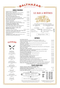 A New York Landmark; Balthazar has a unique menu design as well as it's great food+ atmosphere