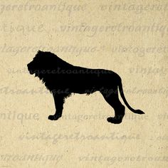 Printable Digital Lion Silhouette Image Animal Illustration Graphic Download Vintage Clip Art. Printable high quality digital image graphic for printing, transfers, t-shirts, and many other uses. Real antique artwork. Great for etsy products. This image is high quality and high resolution at size 8½ x 11 inches. Transparent background version included with all images.