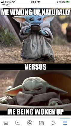Baby Yoda - waking up, woken up Cute Memes, Really Funny Memes, Stupid Funny Memes, Funny Relatable Memes, Yoda Meme, Yoda Funny, Funny Disney Jokes, Funny Animal Jokes, Yoda Images