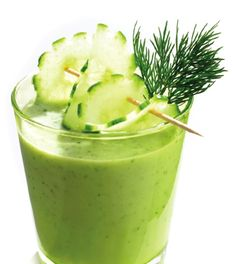 Try this refreshing smoothie: celery, cucumber, kale, lettuce, lemon and apple for a healthy dose of low-cal antioxidants.