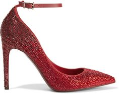 Valentino Crystal-embellished suede pumps