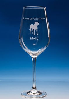 Great Dane Dog Lover Gift Engraved Personalised Fine Quality Wine Glass - Choose Your Name and Message - Birthday Gift - Christmas Gift
