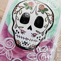 """Blank Page Muse on Instagram: """"I made this slim line Sugar Skull card using the new Day of the Dead stamps designed by Donna Gray @inkyandquirky I made the background…"""" Blank Page, Day Of The Dead, Sugar Skull, New Day, Muse, Creepy, Art Projects, Stamps, Action"""